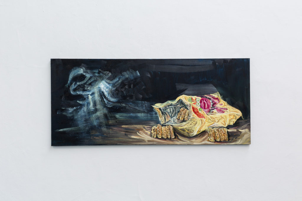 Archie Franks, 'Monster Munch With Moon', 2016. Oil on canvas. 153 x 66cm. Jerwood Painting Fellowships 2016 installation view. Photo: Hydar Dewachi.