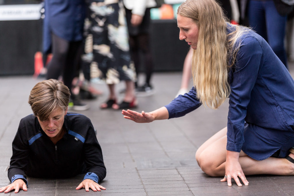 Manual, a performance by Siobhan Davies and Helka Kaski, activated by Andrea Buckley. Performed as part of Figuration of Place: many full less still, an evening of screenings by Keira Greene and performance by Siobhan Davies (July 2016); one of four Jerwood Staging Series events, supported by Jerwood Charitable Foundation. Image: Hydar Dewachi