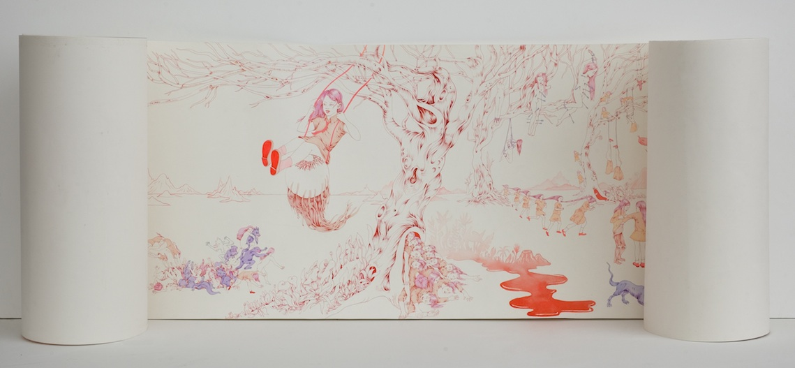 Amelie Barnathan, Unsolemn Rituals (2016). Selected for the Jerwood Drawing Prize 2016, supported by Jerwood Charitable Foundation.
