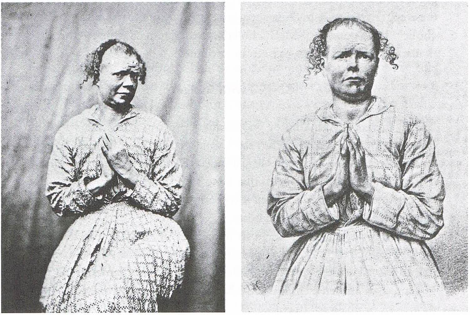 Religious Mania (Photograph: Left, Engraving: Right). Taken from Didi-Huberman, Georges, Invention of Hysteria: Charcot and the Photographic Iconography of the Salpêtrière, 2004, MIT Press