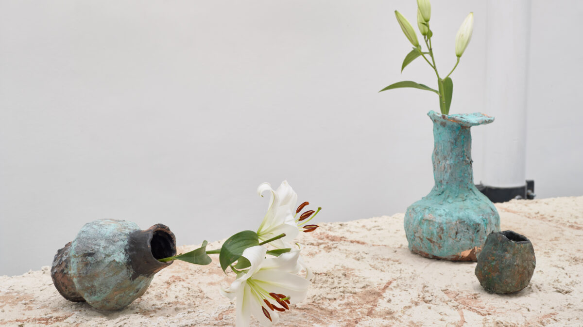 Emii Alrai, Passing of the Lilies, 2021. Commissioned for Jerwood Solo Presentations 2021, supported by Jerwood Arts. Installation view at Jerwood Space. Photo: Anna Arca.