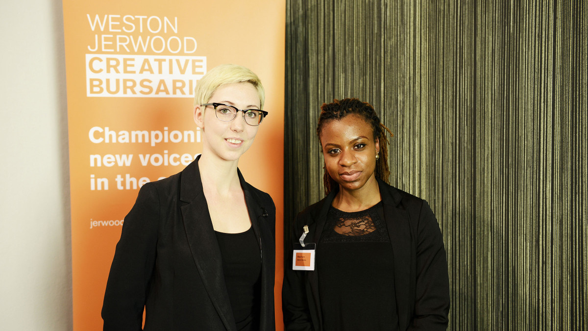 Weston Jerwood Creative Bursaries. Dance Umbrella's Development Manager Camille de Groote with Olitta O'Garro, Festival Assistant. Image: Hana Makovcova