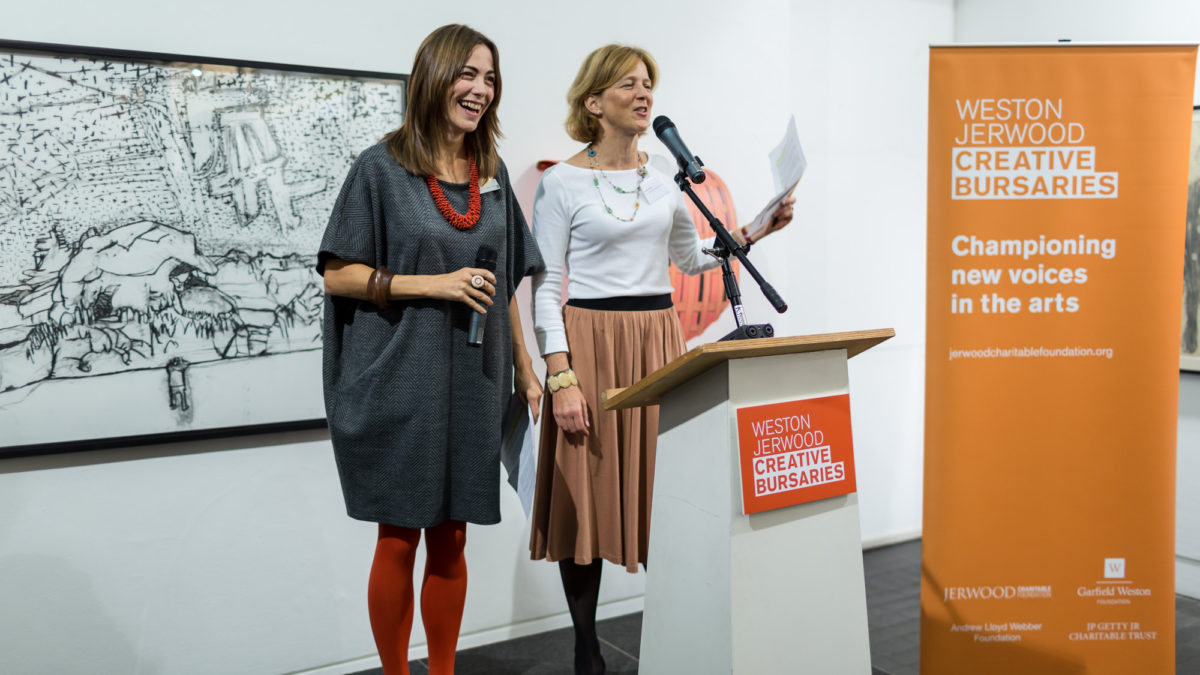 Shonagh Manson, Director, Jerwood Charitable Foundation and Kate Danielson, Director, Weston Jerwood Creative Bursaries. Image Hydar Dewachi